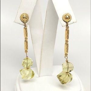 David Yurman 18K Gold Lemon Citrine Earrings